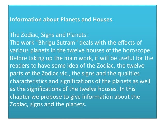 Information about planets and houses
