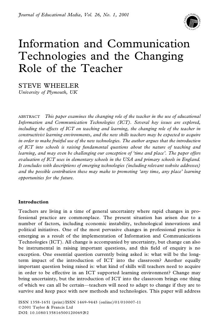 Journal of Educational Media, Vol. 26, No. 1, 2001     Information and Communication Technologies and the Changing Role of...