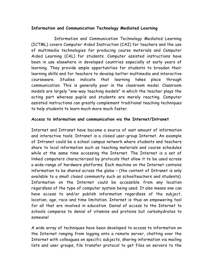 Information and Communication Technology Mediated Learning               Information and Communication Technology Mediated...