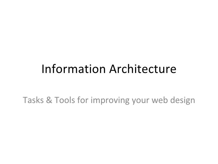 Information Architecture - Tasks & Tools for Web Designers