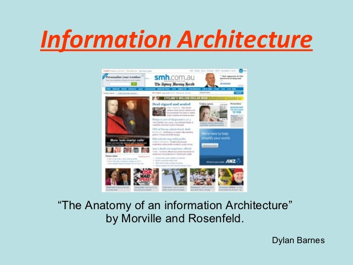 """Information Architecture """" The Anatomy of an information Architecture"""" by  Morville and Rosenfeld. Dylan Barnes"""