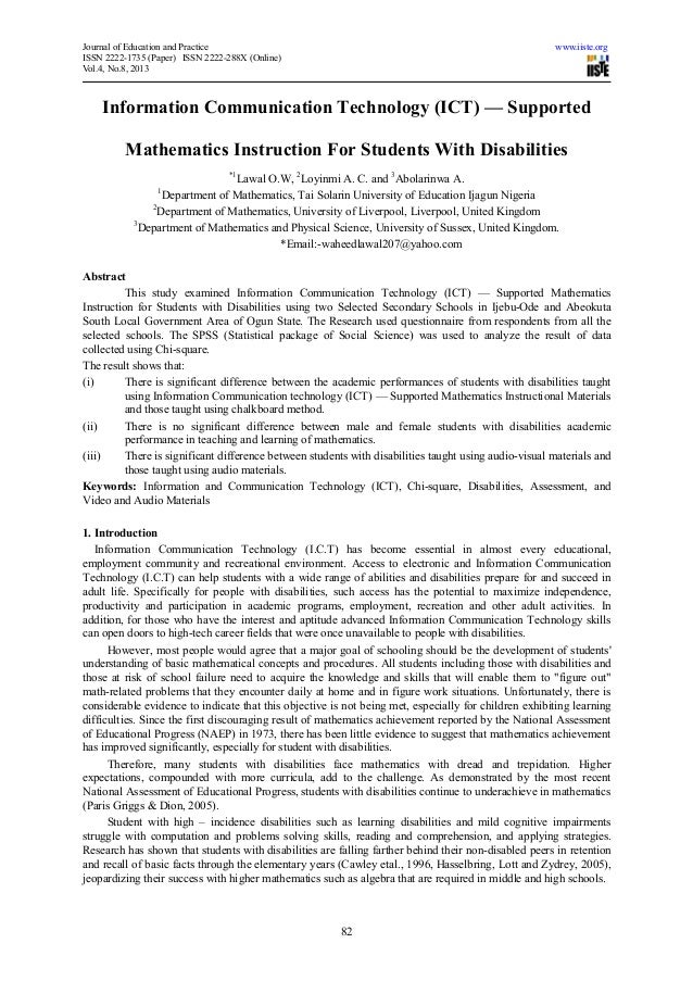 Journal of Education and Practice www.iiste.orgISSN 2222-1735 (Paper) ISSN 2222-288X (Online)Vol.4, No.8, 201382Informatio...