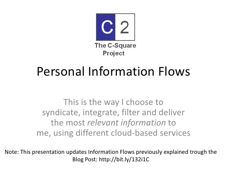 Personal Information Flows<br />This is the way I choose to syndicate, integrate, filter and deliver the most relevant inf...