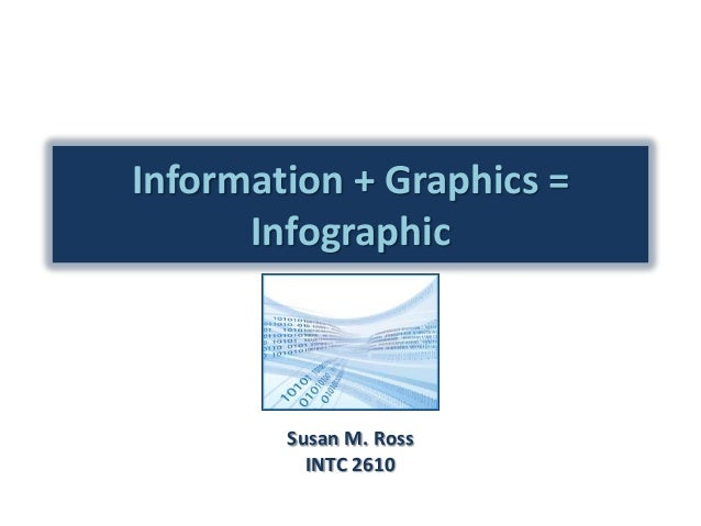 Information + Graphics = Infographic  Susan M. Ross INTC 2610