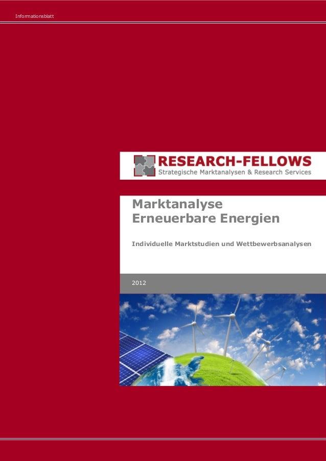 Informationsblatt Marktanalyse Erneuerbare Energien Individuelle Marktstudien und Wettbewerbsanalysen 2012
