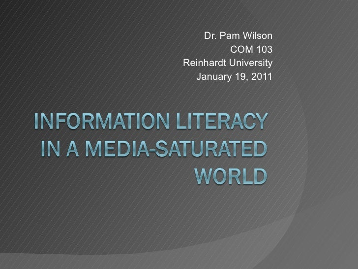 Information literacy in a media-saturated world