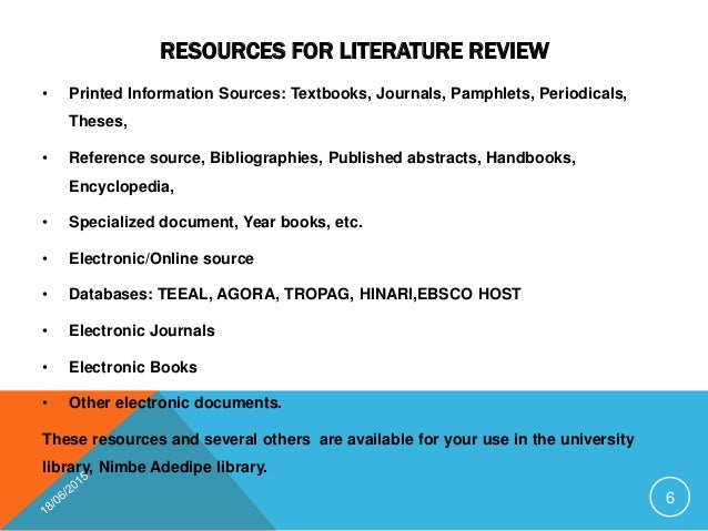 Types of Literature - Literature Reviews - GSU Library