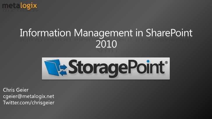 Information Management in SharePoint                2010