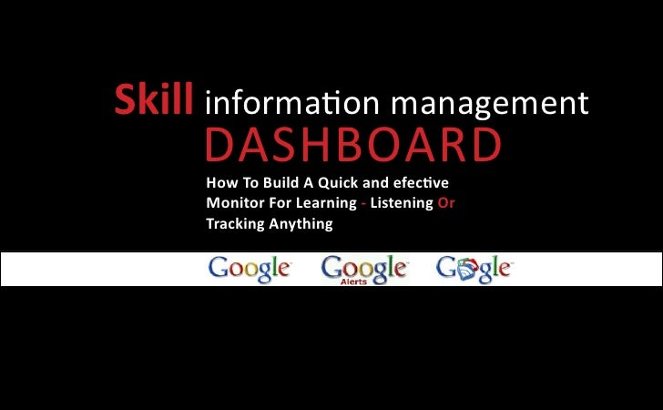 Skill information management     Dashboard     How To Build A Quick and efective     Monitor For Learning - Listening Or  ...