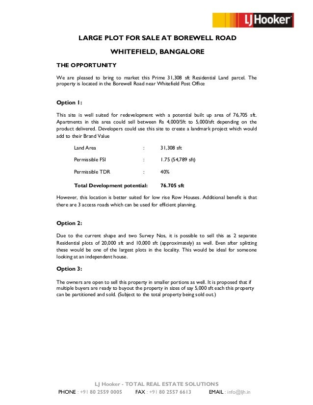 Information Memorandum Borewell Road Property
