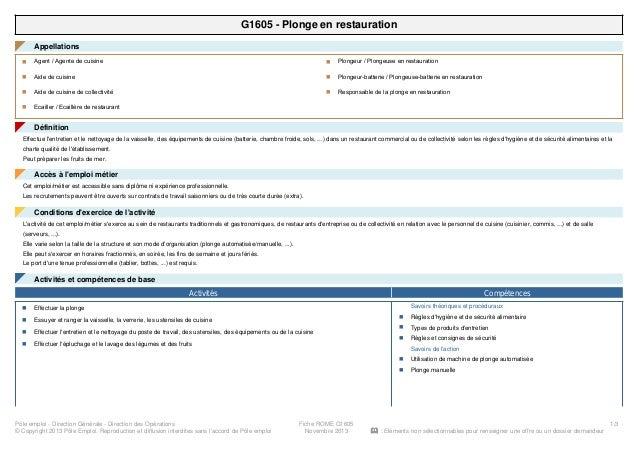 G1605 - Plonge en restauration Appellations◤ Agent / Agente de cuisinen Aide de cuisinen Aide de cuisine de collectivitén ...