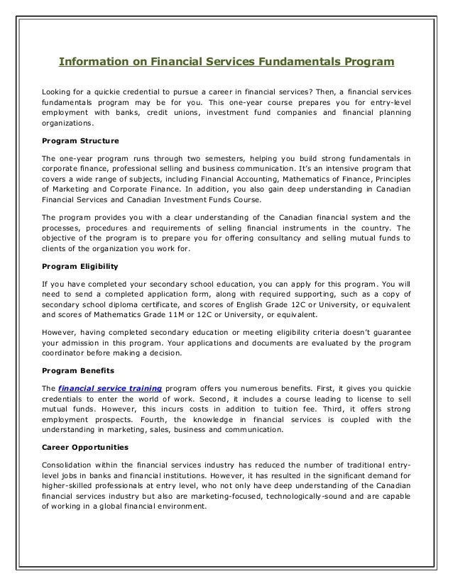 Information on Financial Services Fundamentals Program Looking for a quickie credential to pursue a career in financial se...