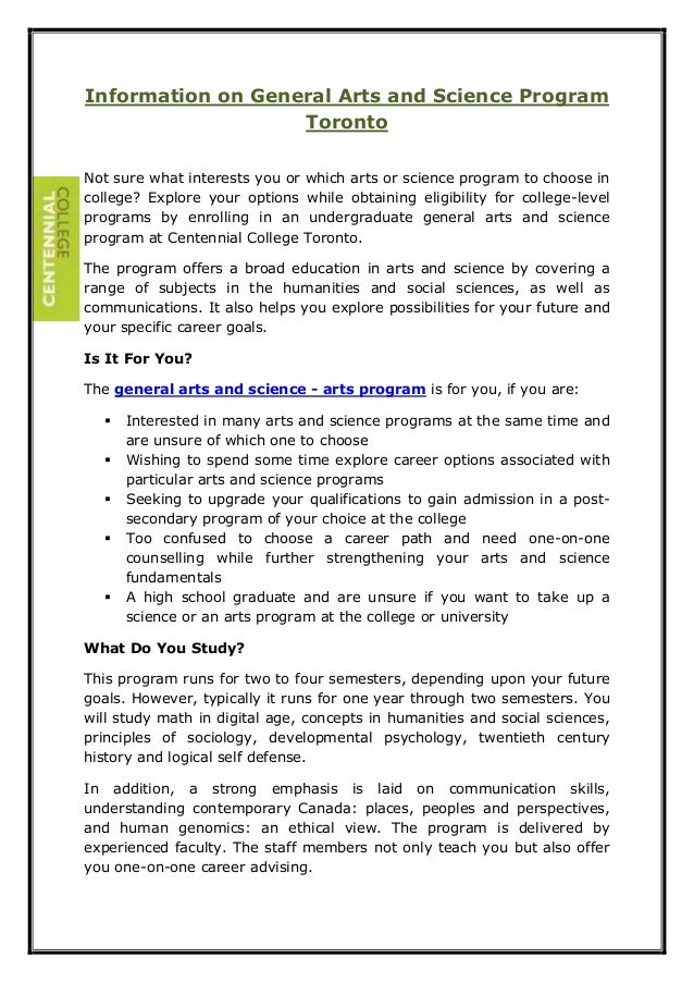 Information on General Arts and Science Program  Toronto  Not sure what interests you or which arts or science program to ...