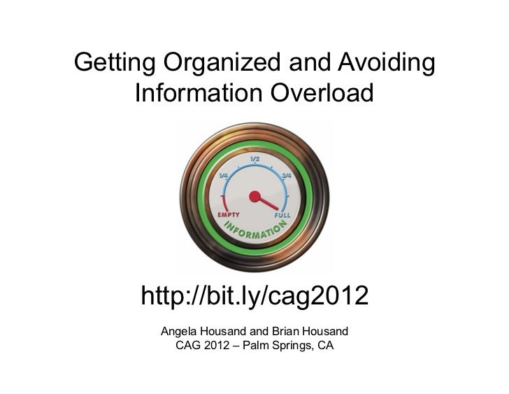 Getting Organized and Avoiding     Information Overload     http://bit.ly/cag2012       Angela Housand and Brian Housand  ...