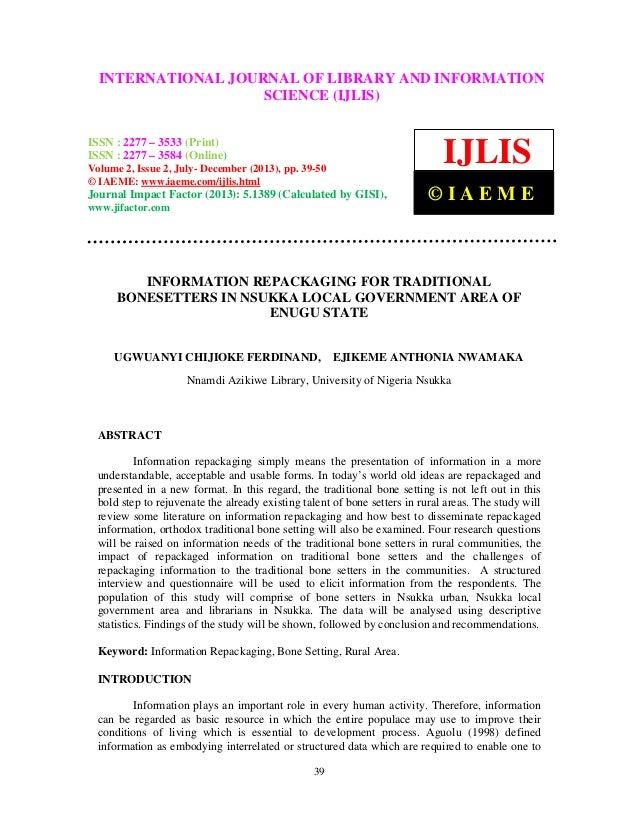 Information repackaging for traditional bonesetters in nsukka