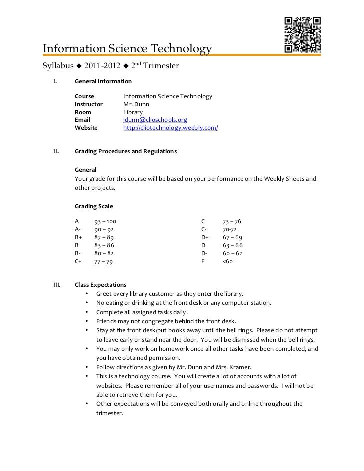 Information Science TechnologySyllabus  2011-2012  2nd Trimester  I.     General	  Information	           Course	       ...