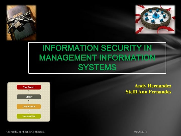 INFORMATION SECURITY INMANAGEMENT INFORMATION       SYSTEMS                     Andy Hernandez                 Steffi Ann ...