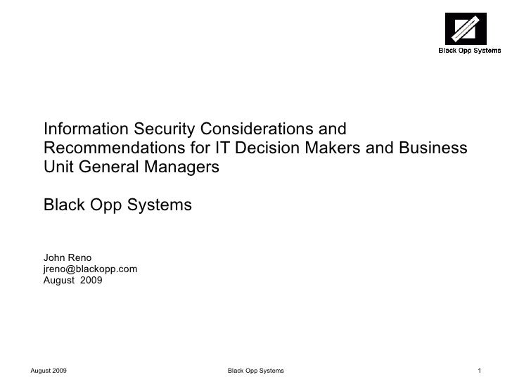 Information Security Considerations and Recommendations for IT Decision Makers and Business Unit General Managers Black Op...
