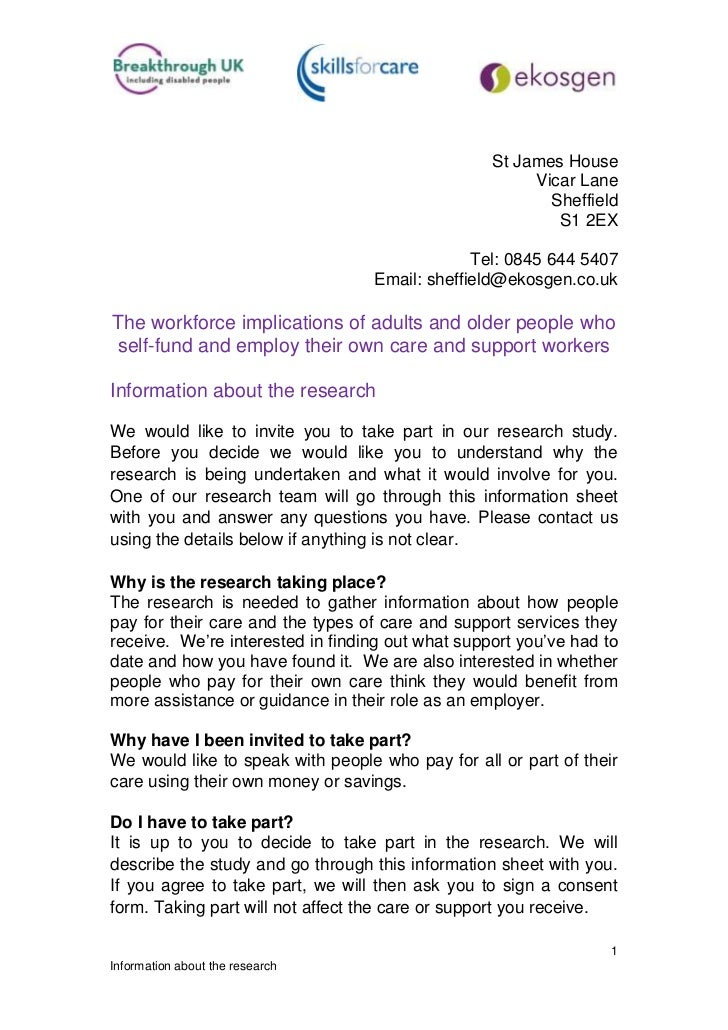 Information sheet for self-funders