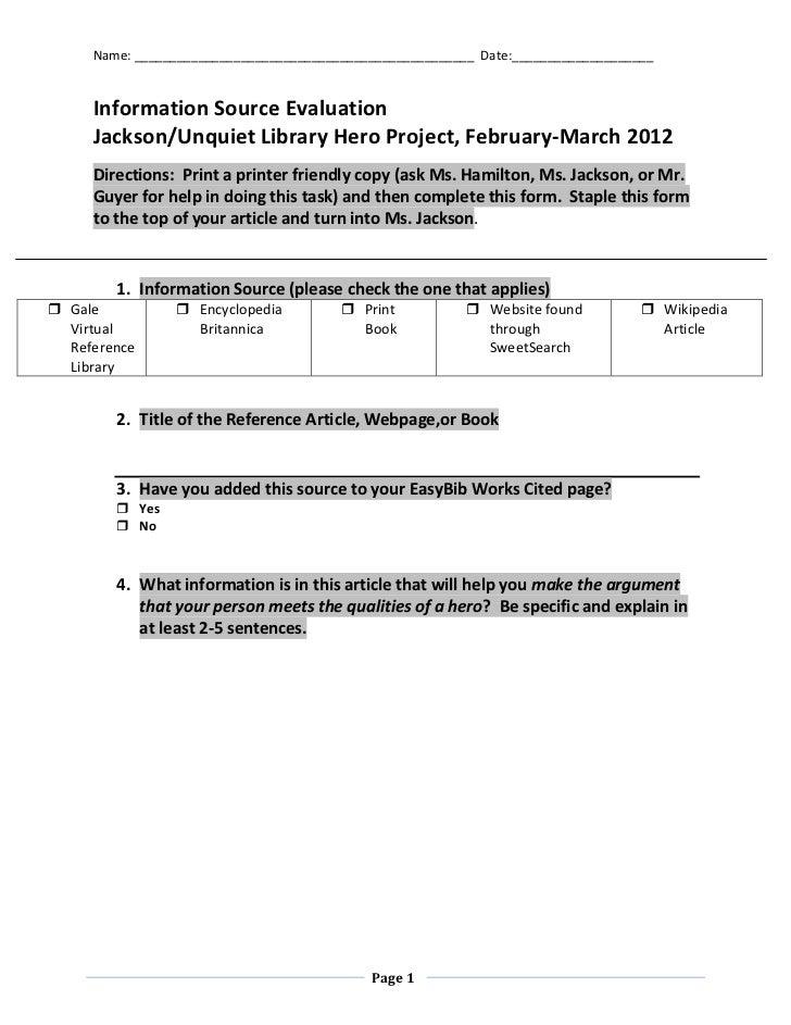 Information source evaluation jackson hamilton hero project winter 2012