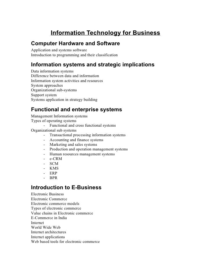 Information Technology for Business Computer Hardware and Software Application and systems software Introduction to progra...