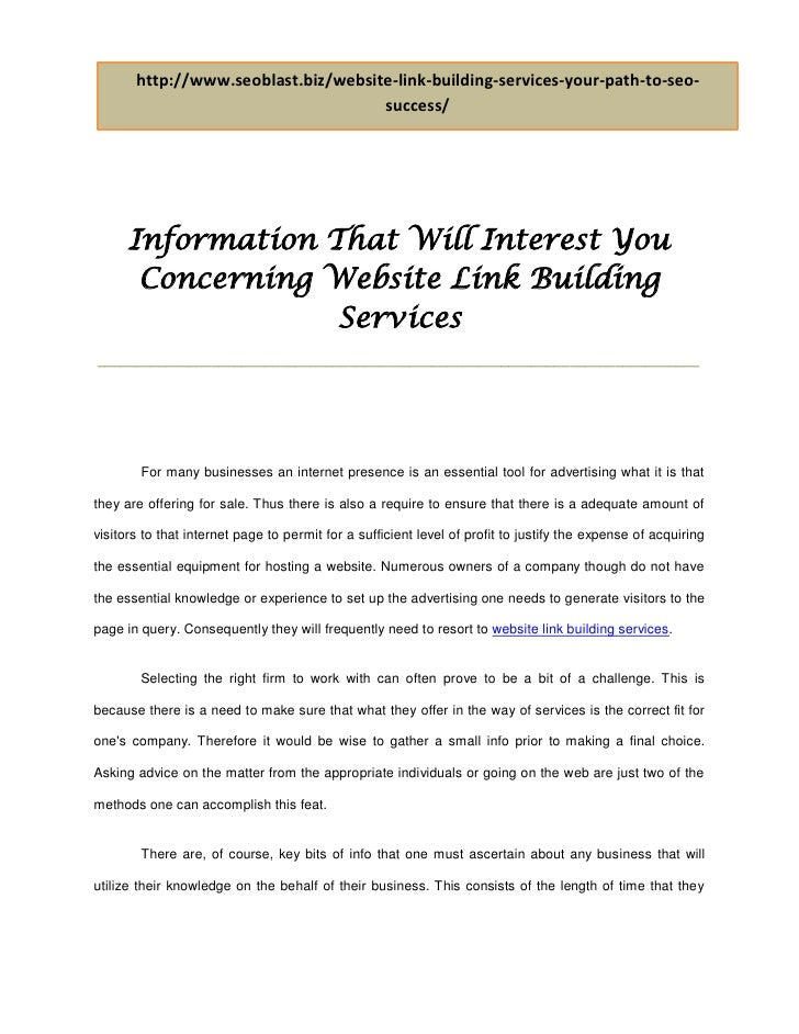 Information that will interest you concerning website link building services doc