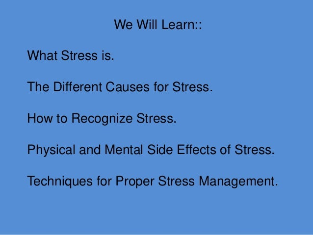 Speeches about stress