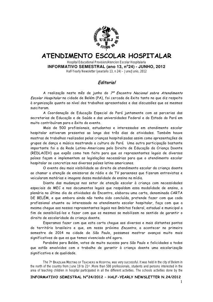 ATENDIMENTO ESCOLAR HOSPITALAR                            Hospital Educational Provision/Atencion Escolar Hospitalaria    ...