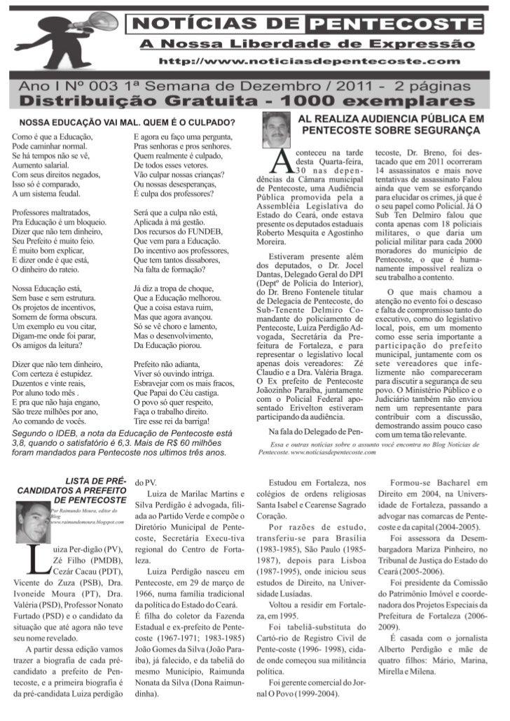 Notícias de Pentecoste versão impressa N º 3