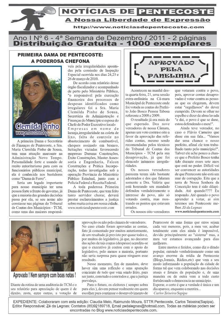 Notícias de Pentecoste VI Versão Impressa