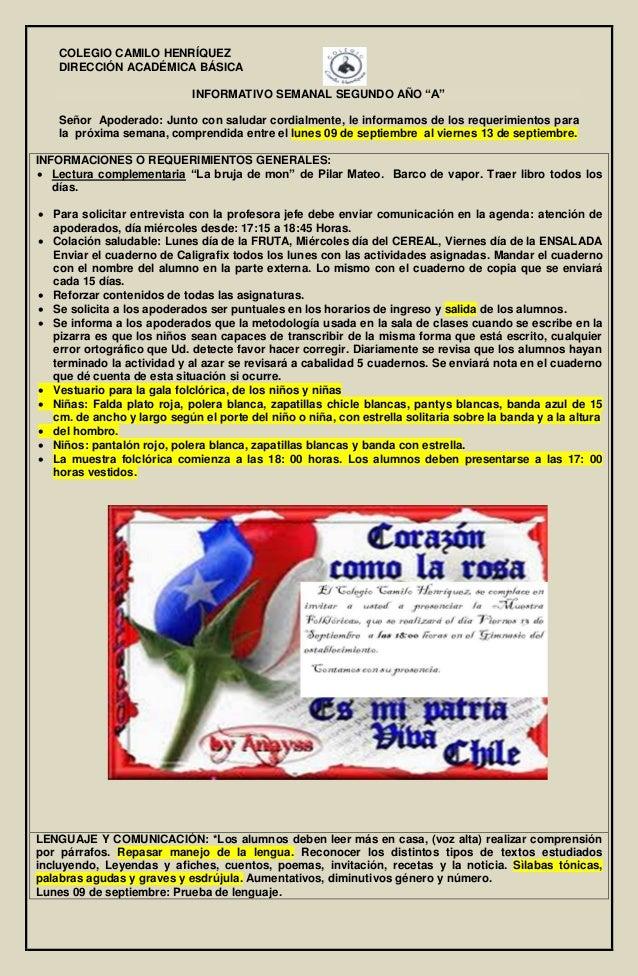 """COLEGIO CAMILO HENRÍQUEZ DIRECCIÓN ACADÉMICA BÁSICA INFORMATIVO SEMANAL SEGUNDO AÑO """"A"""" Señor Apoderado: Junto con saludar..."""