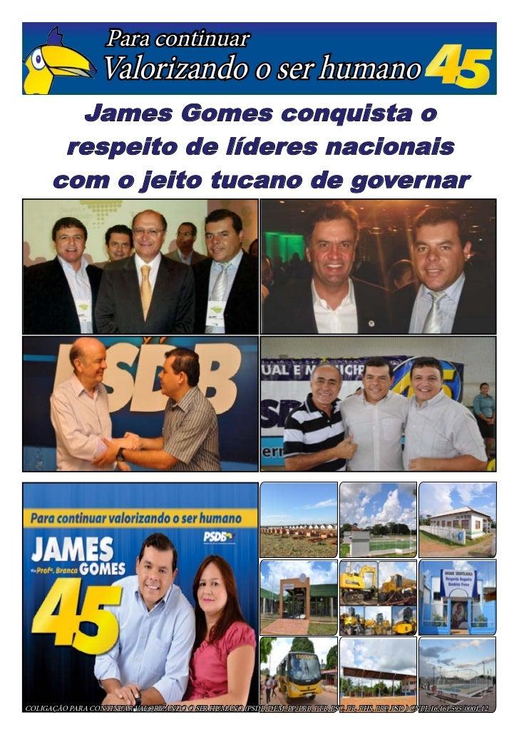 Para continuar                   Valorizando o ser humano         James Gomes conquista o        respeito de líderes nacio...