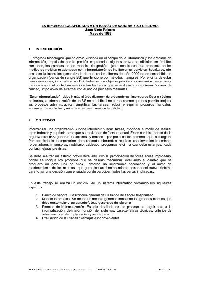 JFNP: Informatización del banco de sangre.doc 04/08/13 11:06 Página -1- LA INFORMATICA APLICADA A UN BANCO DE SANGRE Y SU ...