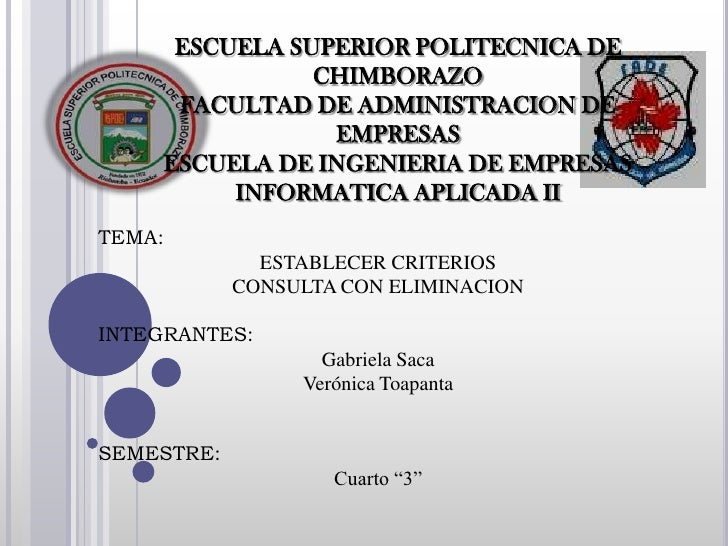 ESCUELA SUPERIOR POLITECNICA DE                CHIMBORAZO      FACULTAD DE ADMINISTRACION DE                 EMPRESAS     ...