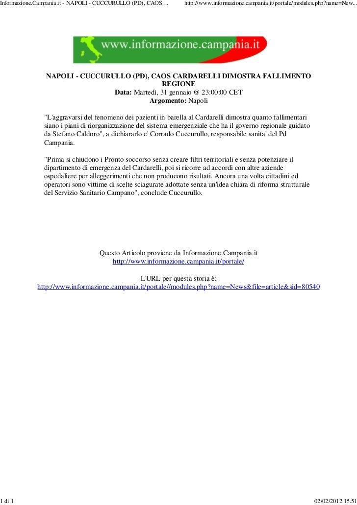 Informazione.Campania.it - NAPOLI - CUCCURULLO (PD), CAOS ...    http://www.informazione.campania.it/portale/modules.php?n...