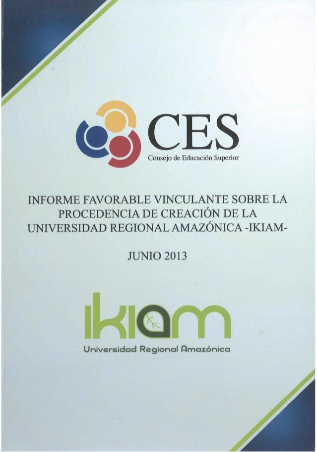 Informe - Proyecto de Ley de Creación de la Universidad IKIAM