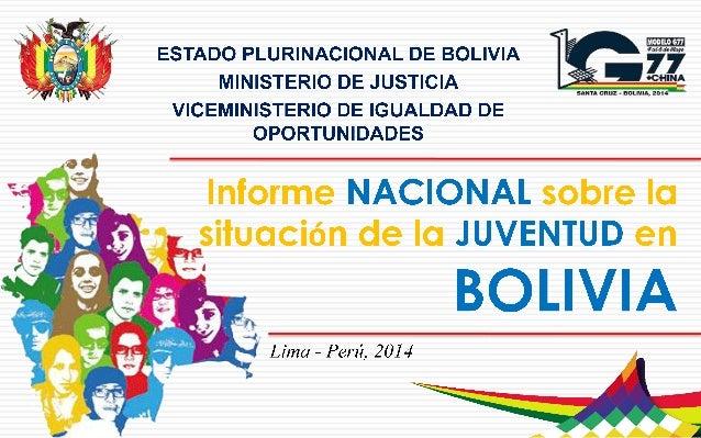 Informe nacional sobre juventud bolivia