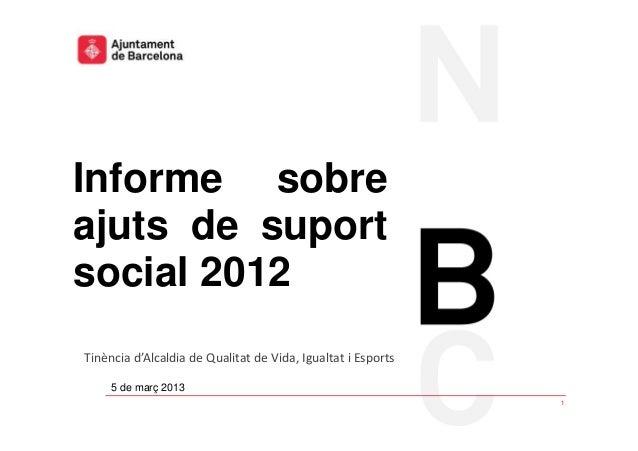 Informe sobre ajuts de suport social 2012.