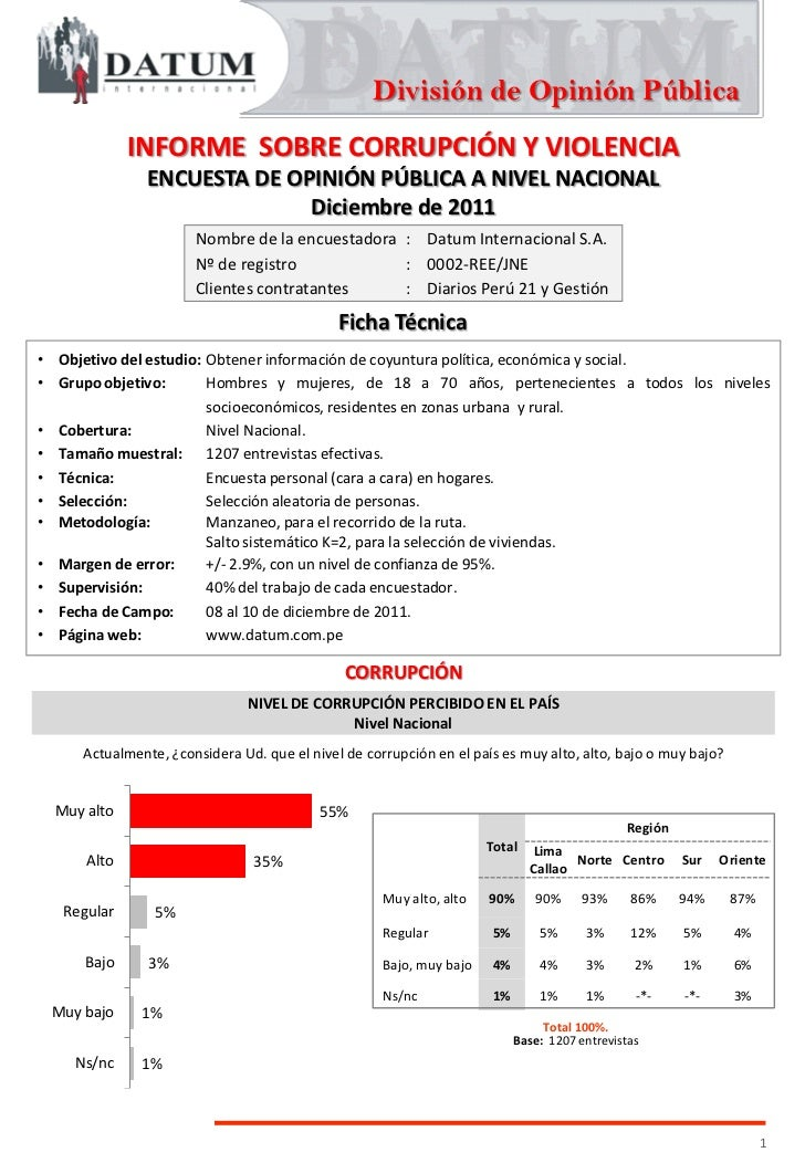 División de Opinión Pública             INFORME SOBRE CORRUPCIÓN Y VIOLENCIA              ENCUESTA DE OPINIÓN PÚBLICA A NI...