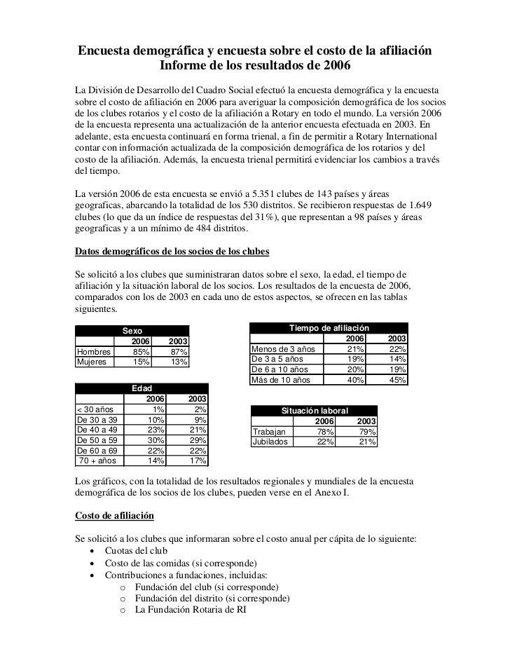 Encuesta demográfica y encuesta sobre el costo de la afiliación             Informe de los resultados de 2006 La División ...