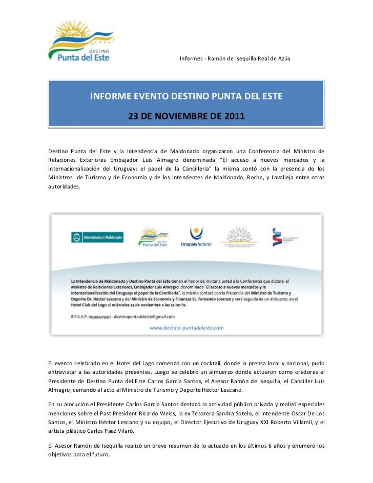 Informes - Ramón de Isequilla Real de Azúa                INFORME EVENTO DESTINO PUNTA DEL ESTE                           ...