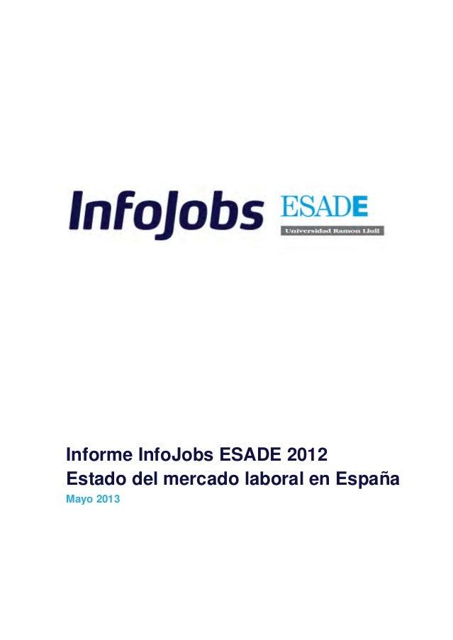 Informe InfoJobs ESADE 2012Estado del mercado laboral en EspañaMayo 2013