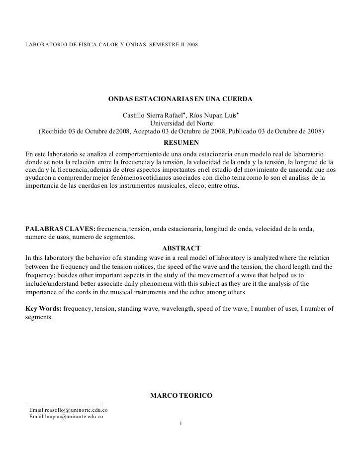 Informe Ondas Estacionarias En Una Cuerda