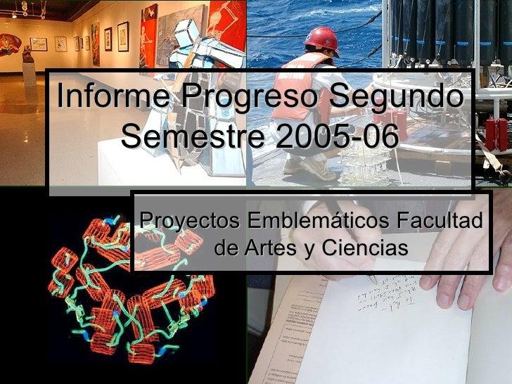 Informe Progreso Segundo Semestre 2005-06 Proyectos Emblemáticos Facultad de Artes y Ciencias