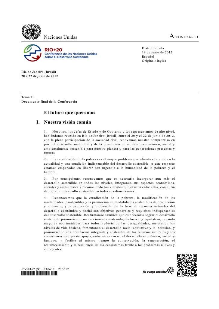 El Futuro que queremos - Informe Rio20