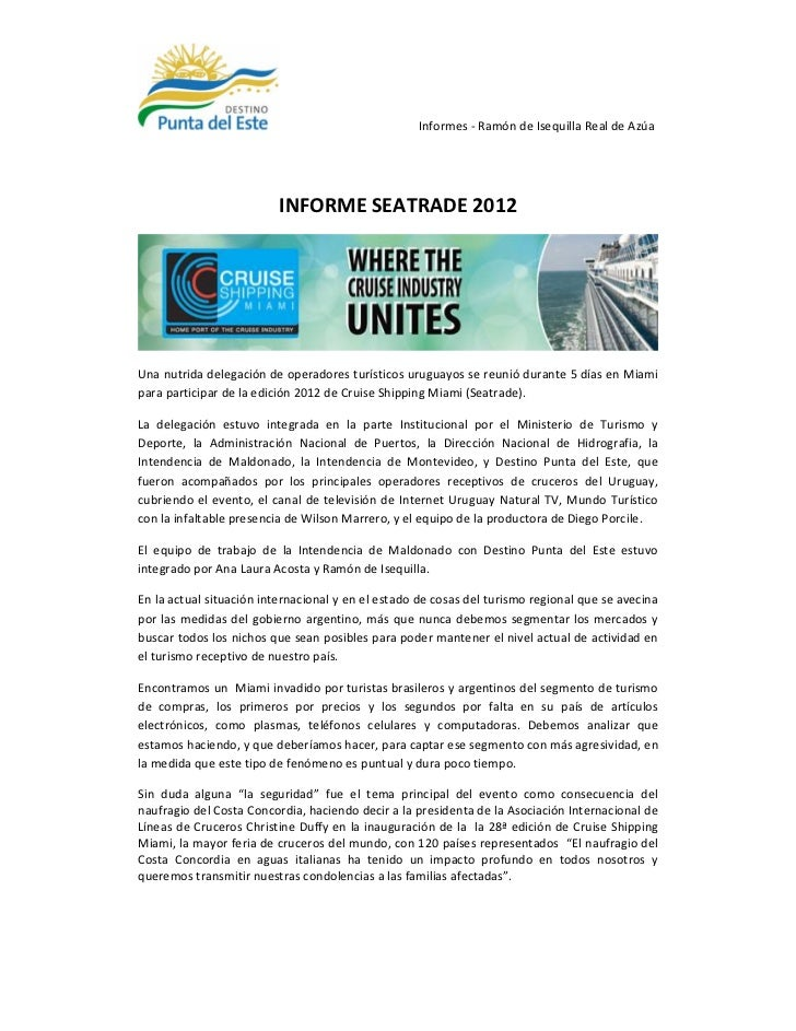 Informe Seatrade 2012 Uruguay Natural