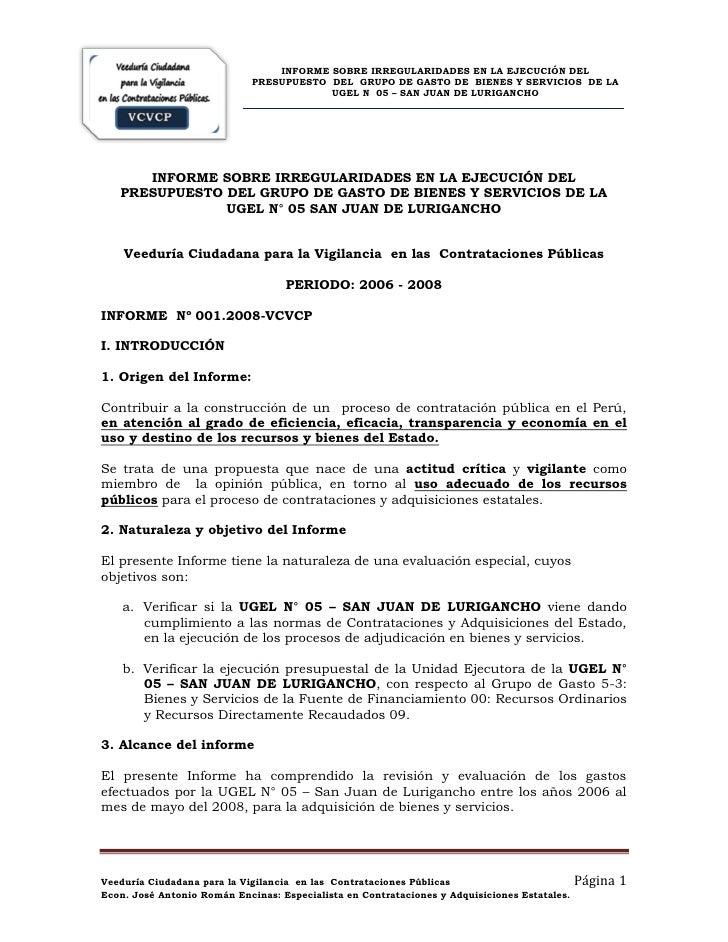 INFORME SOBRE IRREGULARIDADES EN LA EJECUCIÓN DEL                              PRESUPUESTO DEL GRUPO DE GASTO DE BIENES Y ...