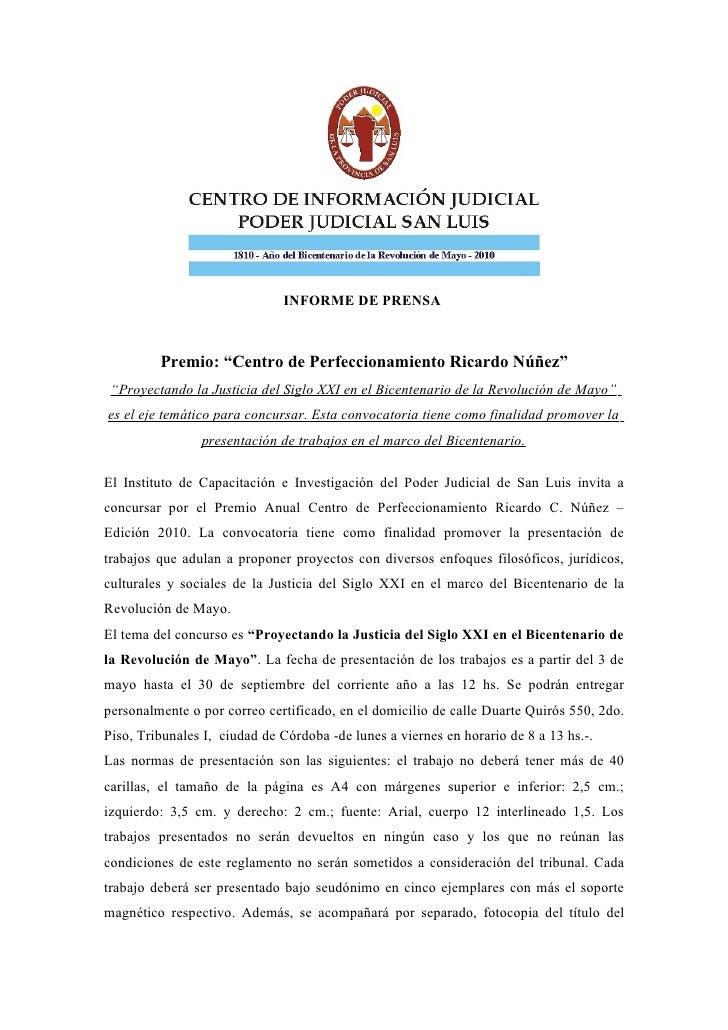 """INFORME DE PRENSA             Premio: """"Centro de Perfeccionamiento Ricardo Núñez""""  """"Proyectando la Justicia del Siglo XXI ..."""