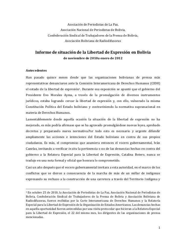 Asociación de Periodistas de La Paz,                          Asociación Nacional de Periodistas de Bolivia,              ...