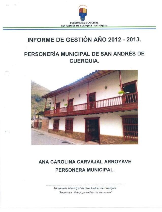 Informe de Gestión de la Personería Municipal 2012 -2013